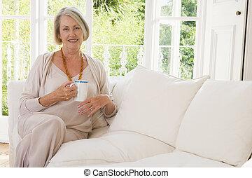 levande, kaffe, kvinna, rum, le