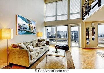 levande, lägenhet, rum, nymodig, interior., loft