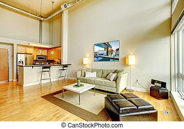 levande, lägenhet, rum, nymodig, kitchen., inre, loft
