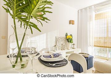 levande, lägenhet, rum, nymodig, lyxvara, restaurang, lysande, bord