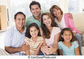 levande, le, vidgad, rum, familj
