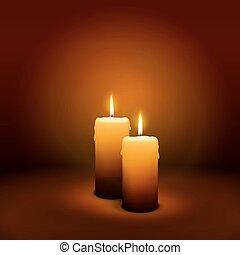 levande ljus, advent, -, 2, söndag, stearinljus, socond