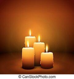levande ljus, advent, -, söndag, 4, fjärde, stearinljus
