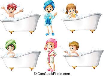 levando, crianças, banho
