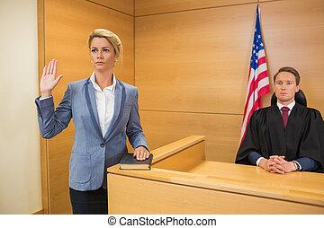 levando, juramento, testemunha