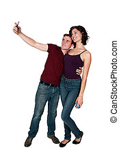 levando, par, selfie