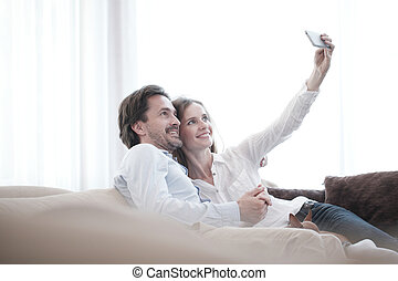 levando, par, selfie, feliz
