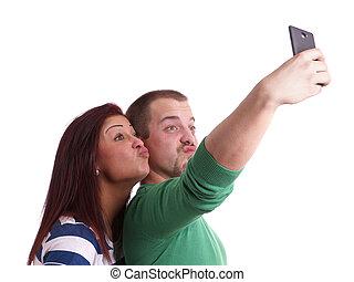 levando, selfie, par, jovem
