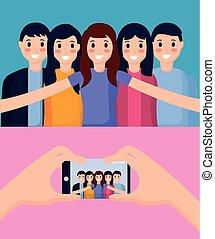 levando, selfie, pessoas