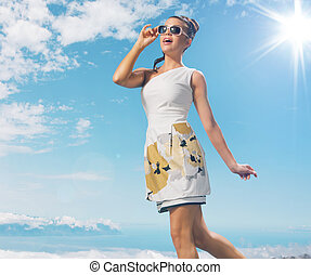 levando, senhora, sunbath, charming