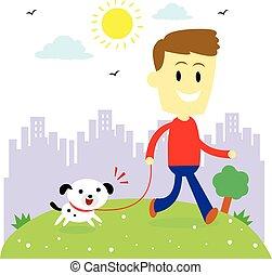 levando, seu, filhote cachorro, homem, passeio