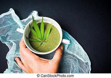 levando, tigela, marijuana, mão, cannabis, pó