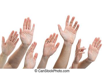 levantado, arriba, manos humanas