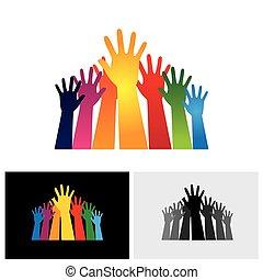 levantado, coloridos, ícones, abstratos, vectors, junto, mão, unidade, mostrando