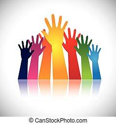 levantado, coloridos, abstratos, vectors, junto, mão, unidade, mostrando