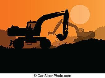 levantado, escavador, balde, local, carregador, vetorial, construção