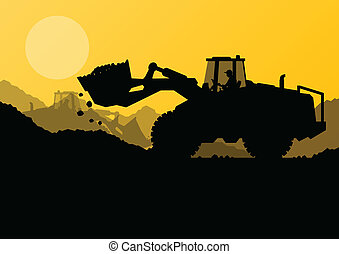 levantado, excavador, cubo, sitio, cargador, vector, ...