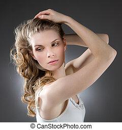 levantado, olhar, loiro, lateralmente, mulher, braços