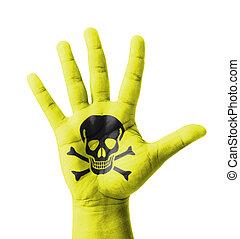 levantado, pintado, venenoso, señal, mano abierta