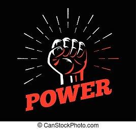 levantado, poder, clenched, mão, punho, gesto
