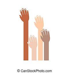 levantado, raças, diferente, mão