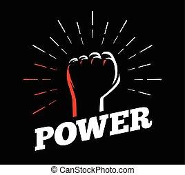 levantado, raios, poder, estouro, sol, costas, clenched, mão, punho, gesto