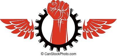 levantado, revolución, humano, wheel., resumen, rodeado,...