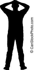 levantado, siluetas, fondo negro, blanco, brazo, hombre