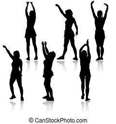 levantado, siluetas, fondo negro, blanco, brazo, mujeres