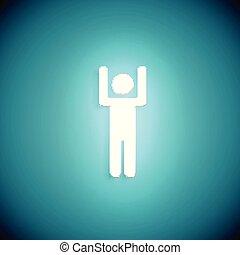 levantado, torcida, mão, ilustração, glowing, vetorial, carrinho, homem