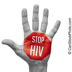 levantado, VIH, pintado, parada, señal, mano, abierto
