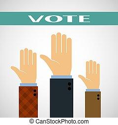 levantado, vote., cima, mãos