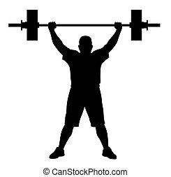 levantador del peso, atleta