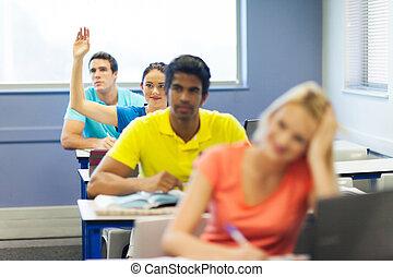 levantamento, estudante, faculdade, mão