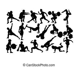 levantamento, ginástica, peso, condicão física