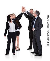 levantamento, grupo, businesspeople, junto, mão