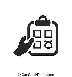 levantamento, lista de verificação, ícone