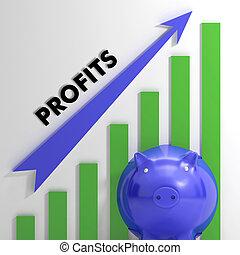 levantamento, lucros, mapa, mostrando, negócio, sucesso