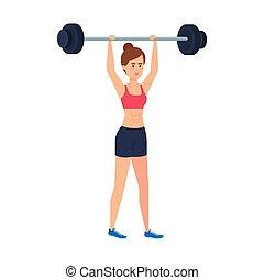 levantamento, mulher, peso, forte