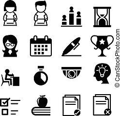 levantamento, teste, exame, ícone