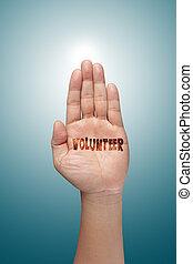 levantamento, voluntário, mão