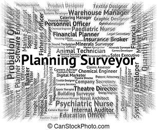 levantamentos, agrimensor, texto, meios, recrutamento, planificação