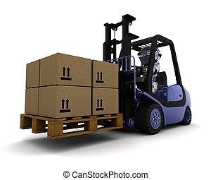 levantamiento, camión, robot, conducción