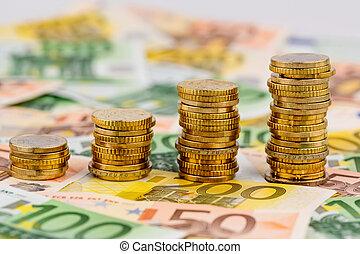 levantamiento, coins, curva, pila, dinero