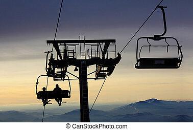 levantamiento, esquí