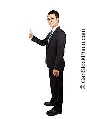 levantando, homem negócios, polegar, jovem