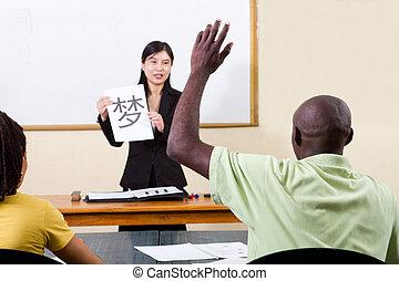 levantando mão, em, chinês, sala aula