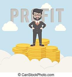 levantar, bussinessman, lucro, moedas