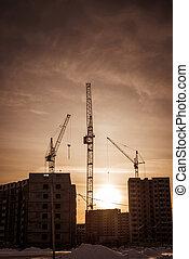 levantar, grúas, y, nuevo, residencial, desarrollo