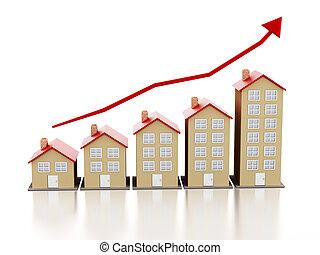 levantar, habitação, mercado